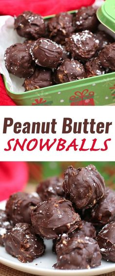 Peanut Butter Snowballs Peanut Butter Snowballs no-bake holiday recipe, it's a very easy recipe with few ingredients. Make for yourself, for a holiday treat exchange or for gifting Köstliche Desserts, Holiday Desserts, Holiday Baking, Holiday Treats, Holiday Recipes, Delicious Desserts, Dessert Recipes, Yummy Food, Christmas Recipes