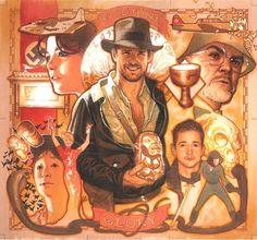 Indiana Jones original art cards drawn by Adam Hughes