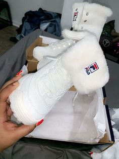 Fila boots with fur tops Heeled Boots, Shoe Boots, Shoes Sandals, Apl Shoes, Cute Shoes, Me Too Shoes, Sneakers Fashion, Fashion Shoes, Fashion Mode
