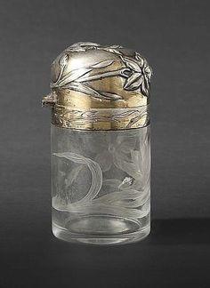 Art Nouveau francés Perfumero  cristal grabado de plata Baccarat