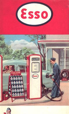 "Vintage Esso ~ at night, at my Papaw's... I used to sleep with my pillow in the open window because there was an Esso station across the river that was open late at night, and I could see and hear them... especially the ""ding, ding"" when a car would come in and run over the hose across their driveway."