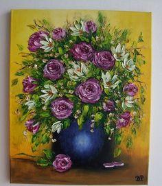 Roses Magnolias Impression Textured Original Oil Painting IMPASTO Europe Artist #Impressionism