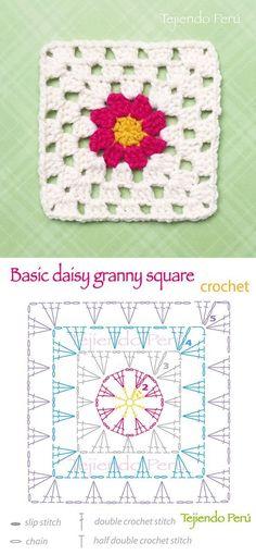 Crochet: basic daisy granny square pattern (diagram or chart)!: