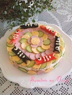 こどもの日♪楽しい♪こいのぼり寿司ケーキ Boys Day, Child Day, Greenery Day, Modern Food, Cute Food, International Recipes, Creative Food, Food Art, Acai Bowl