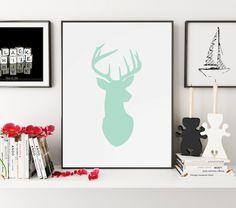 Deer Poster, Deer Print, Deer, Deer Art, Deer Wall Art, Deer Silhouette, Deer Decor, Deer Wall Decor, Wall Art, Wall Prints, Printable Art
