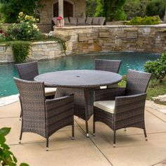 Outdoor Best Selling Home Decor Furniture Madison Wicker 5 Piece Round Patio Dining Set with Cushions - 295849