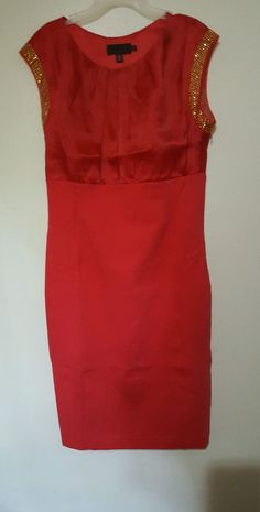 Ted Baker Red Elate Sleeveless Embellished Formal Dress Sz 4 #TedBaker #Shift #FormalCocktail