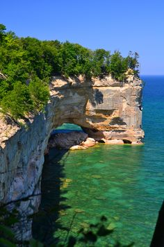 Pictured Rocks National Lakeshore Lake Superior Munising, MI is spectacular as viewed from boat. Rock formations, colored rocks, caves and aqua water make this a lakeshore to visit.