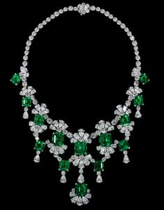 David Morris Old-Mine Natural Colombian Emerald & Diamond Necklace. Total Emerald Weight 83,90cts; Total Diamond Weight 86,60ct