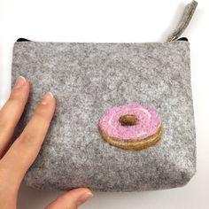 Donut Purse Felt Clutch Zipper Pouch Donut Pouch by SewnbytheBeach