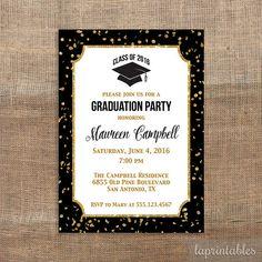 Invitación fiesta de graduación negro y oro brillo por laprintables