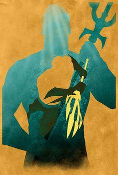 JLA Aquaman Minimalist  18x24 DC Comics Justice by MarkItZeroNET, $30.00