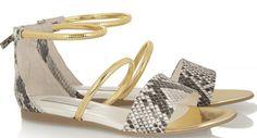sandale façon python gris à bride metal doré stalla mccartney