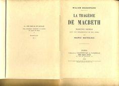 """Maurice Maeterlinck (traducteur), """"La Tragédie de Macbeth"""" (1910), exemplaire n°1/5 sur papier du Japon"""
