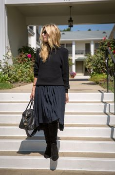 Bring your chiffon skirt into fall with a structured sweater and thigh-high boots @gap #styldby #dressnormal #spotlight