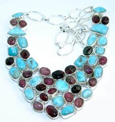 Beautiful item with Tourmaline, Larimar Gemstone(s) set in pure 925 sterling silver.