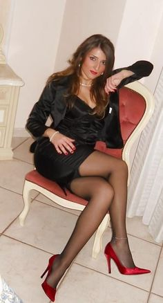 Black Satin Dress Black Satin Blazer Sheer Black Stockings With Visible Stocking Tops and Red stiletto high Heels
