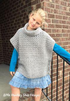 Crochet Poncho PATTERN girls Cowl Neck Poncho  by LittleMonkeyShop