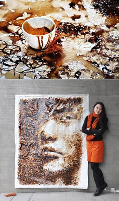 """Shanghai-based artist Hong Yi, a/k/a """"Red Hong,"""" enjoys drawing with anything but traditional drawing utensils, having used sunflower seeds, ketchup, milk, and salt, among other things. Her latest work is a portrait of Taiwanese pop star Jay Chou drawn using coffee cup rings."""
