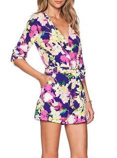 c09c0f55f94b WMNS Romper - Magenta   Bold Flowers   Mid-Length Sleeves. Silk RomperFloral  RomperJumpsuits For WomenCasual ChicSpring DressesPlaysuitsMid LengthSummer  ...