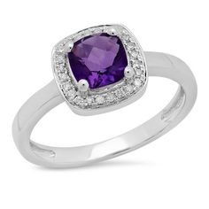 0.90 Carat (ctw) 14K White Gold Cushion Cut Amethyst & Round White Diamond Ladies Bridal Engagement Ring #cushioncutdiamonds