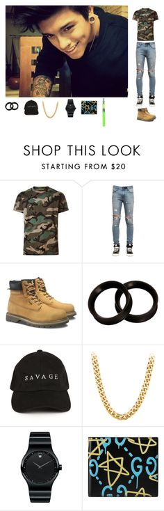 """""""OORN-Cameron"""" by trillqueen-689 ❤ liked on Polyvore featuring Valentino, RtA, Caterpillar, Movado and Gucci"""
