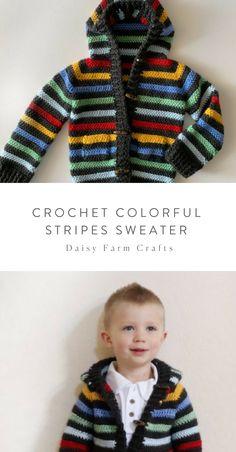 Free Pattern - Crochet Colorful Stripes Sweater Source by daisyfarmcrafts Sweater Crochet Bunting Free Pattern, Boy Crochet Patterns, Poncho Knitting Patterns, Baby Patterns, Crochet Toddler, Crochet For Boys, Crochet Baby Hats, Cute Crochet, Knit Crochet