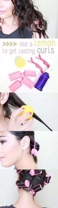 This works on your hair, no matter how long or thick! Forget harsh products and use lemon on your hair right before setting in the curls overnight. More details: www.ehow.com/...