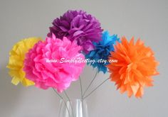 pom flowers for centerpiece, will be in all pinks and whites