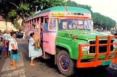 Western Samoa, Island Of Upolu, Apia (Capital). People Boarding Bus..... http://www.virgin-cove.ws/