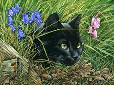 Black Cat art by Irina Garmashova-Cawton Black Cat Art, Black Cats, Pretty Cats, Cat Drawing, Cat Tattoo, Cat Design, Art Pages, Animal Drawings, Fine Art America