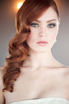 Vintage Wedding Hair Side swept curls - long hair - auburn hair - bridal hair inspiration - Cascading waves are a way for you to channel your inner screen siren. This vintage inspired hairstyle is a perfect up-do alternative. Wedding Makeup Redhead, Wedding Hair And Makeup, Bridal Makeup, Bridal Beauty, Redhead Makeup, Bridal Updo, Wedding Hairstyles For Women, Bride Hairstyles, Vintage Hairstyles
