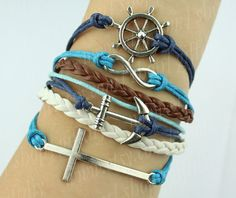 Crossanchorinfinity wishrudder/wheel braceletwax cords by giftdiy, $8.99