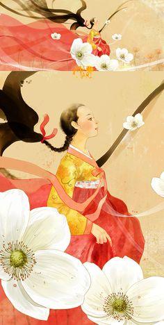 Korean Illustration, Illustration Art, Korean Art, Asian Art, Korean Traditional, Traditional Outfits, Korean Painting, Korean Hanbok, Chinese Art