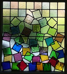 Tumbling Squares, Leaded panel