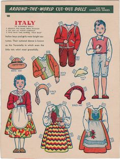AROUND-THE-WORLD Cut-Out Dolls Advertisement for KELLOGG'S Cereal <=> ITALY [very large]