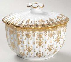 Sugar Bowl & Lid, Spode Fleur de Lys Gold (Bone, Gold Trim) at Replacements, Ltd