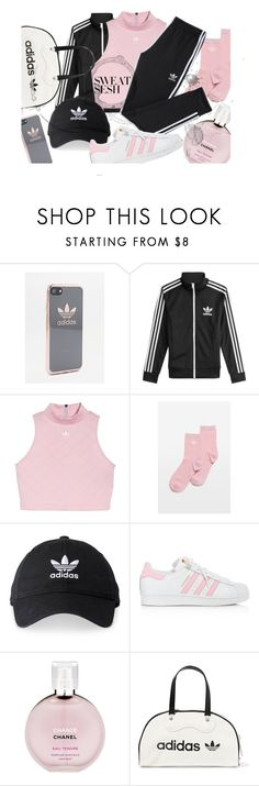 """#sweatsesh"" by hotcadarna ❤ liked on Polyvore featuring adidas, Chanel, adidas Originals and sweatsesh"