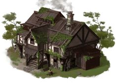 Home sm Inn road farmland forest hills ArtStation - a middle of age house, Hui-Won Park Casa Medieval Minecraft, Medieval Houses, Fantasy Town, Fantasy House, Building Concept, Building Art, Minecraft Architecture, Minecraft Buildings, Classical Architecture