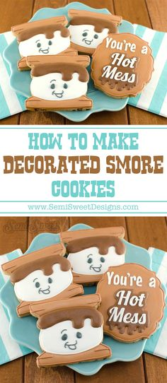 Learn how to make decorated s'more cookies with royal icing. No campfire needed. Smores Cookies, Campfire Cookies, Summer Cookies, Fall Cookies, Easter Cookies, Cookie Icing, Royal Icing Cookies, Cupcake Cookies, Halloween Cupcakes