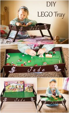 DIY LEGO tray play station made from Wooden breakfast serving tray.