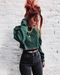 Fashion ❤︎ Vegan Beauty Bible Vegan Fashion Bible Vegan Health Bible we have chosen th Mode Outfits, Trendy Outfits, Fashion Outfits, Casual Grunge Outfits, Red Hair Outfits, Edgy Fall Outfits, Female Outfits, Colourful Outfits, Unique Outfits