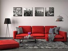 Canvas Print for Home Decoration 4 Panels New York City Landmark Painting Wall Art Picture Print on Canvas - High Definition Modern Giclee Artwork Red Couch Living Room, Red Living Room Decor, Living Room Designs, Discount Bedroom Furniture, Home Office Decor, Home Decor, Art Decor, Living Furniture, Decoration