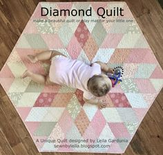 Tutorial for a unique hexagon shaped baby quilt or play mat made from diamonds
