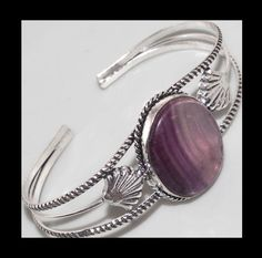 NEW - AMETHYST LACE SILVER SHELL ACCENT ADJUSTABLE OPEN CUFF BANGLE BRACELET #Unbranded #CuffBangle