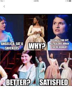 Yeah, remember that snickers commercial they used to play all the time? Yeah, maybe Angelica is satisfied, but Hamilton will never be satisfied! Hamilton Fanart, Hamilton Musical, Hamilton Broadway, Twerk Twerk, Hamilton Lin Manuel Miranda, Into The West, All Meme, Fandoms, Alexander Hamilton