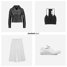 Die weite Hose und das kurze Crop Top sorgen für die Balance im Look. Die Lederjacke und die Slipper für die gewünschte Coolness! Hier entdecken und shoppen: http://sturbock.me/2wO