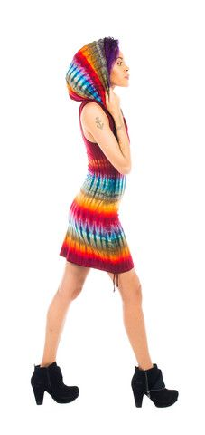 X-Small Medium Tie Dye Cotton Huntress Cinch Dress