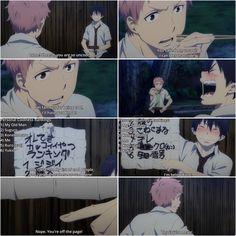 Rin and Shima Funny moment Blue Exorcist Season 3, Blue Exorcist Bon, Blue Exorcist Funny, An No Exorcist, Blue Exorcist Anime, Vocaloid, Manga Anime, Anime Art, Rin Okumura