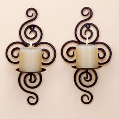 wedding decoration Iron pastoral style wrought iron candle holders Wall candlestick home decoration - Luxury Designer Fixures # Wrought Iron Candle Holders, Wall Candle Holders, Candle Wall Sconces, Candlestick Holders, Candle Tray, Image Bougie, Chandelier Bougie, Wrought Iron Wall Decor, Metal Wall Art